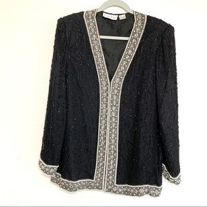 Vintage Lawrence Kazar 80s Silk Beaded Open Jacket